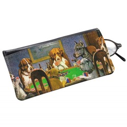 Dogs Playing Poker by C.M.Coolidge Genuine Leather Eyeglass Case