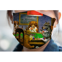 Dogs Playing Poker by C.M.Coolidge Face Mask Cover