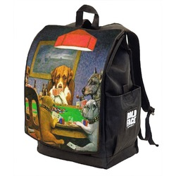 Dogs Playing Poker by C.M.Coolidge Backpack w/ Front Flap