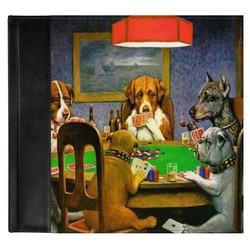 Dogs Playing Poker by C.M.Coolidge Genuine Leather Baby Memory Book