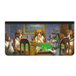 Dogs Playing Poker by C.M.Coolidge Genuine Leather Checkbook Cover
