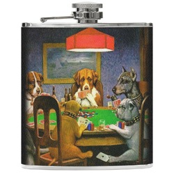 Dogs Playing Poker by C.M.Coolidge Genuine Leather Flask