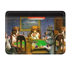 Dogs Playing Poker by C.M.Coolidge Genuine Leather Front Pocket Wallet