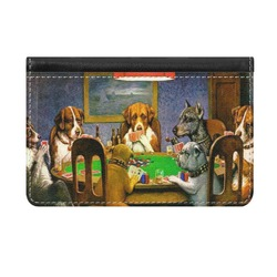 Dogs Playing Poker by C.M.Coolidge Genuine Leather ID & Card Wallet - Slim Style