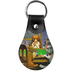 Dogs Playing Poker by C.M.Coolidge Genuine Leather  Keychain