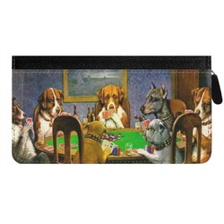Dogs Playing Poker by C.M.Coolidge Genuine Leather Ladies Zippered Wallet