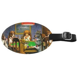 Dogs Playing Poker by C.M.Coolidge Genuine Leather Oval Luggage Tag