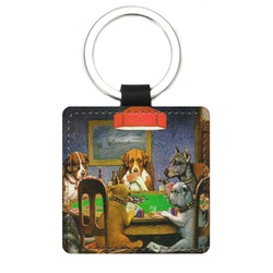 Dogs Playing Poker by C.M.Coolidge Genuine Leather Rectangular Keychain