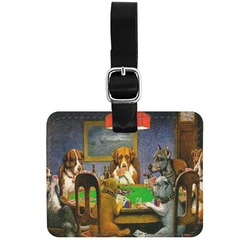 Dogs Playing Poker by C.M.Coolidge Genuine Leather Rectangular  Luggage Tag
