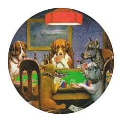 Dogs Playing Poker by C.M.Coolidge Round Desk Weight - Genuine Leather