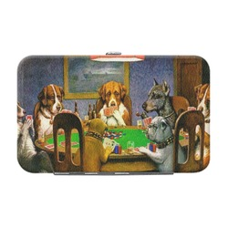Dogs Playing Poker by C.M.Coolidge Genuine Leather Small Framed Wallet