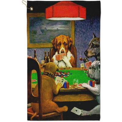Dogs Playing Poker by C.M.Coolidge Golf Towel - Full Print - Small