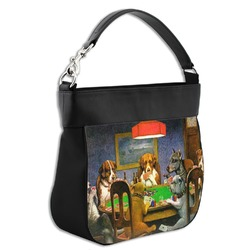 Dogs Playing Poker by C.M.Coolidge Hobo Purse w/ Genuine Leather Trim
