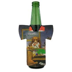 Dogs Playing Poker by C.M.Coolidge Bottle Cooler
