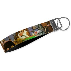 Dogs Playing Poker by C.M.Coolidge Wristlet Webbing Keychain Fob