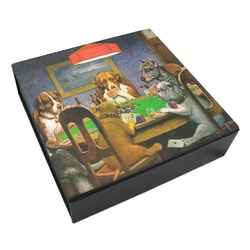 Dogs Playing Poker by C.M.Coolidge Leatherette Keepsake Box - 8x8