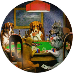 Dogs Playing Poker by C.M.Coolidge Melamine Plate - 8