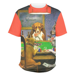 Dogs Playing Poker by C.M.Coolidge Men's Crew T-Shirt