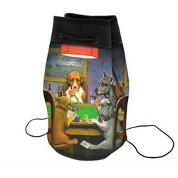 Dogs Playing Poker by C.M.Coolidge Neoprene Drawstring Backpack