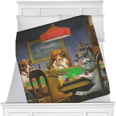 Dogs Playing Poker by C.M.Coolidge Minky Blanket