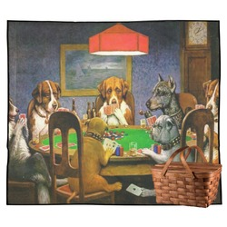 Dogs Playing Poker by C.M.Coolidge Outdoor Picnic Blanket