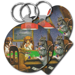 Dogs Playing Poker by C.M.Coolidge Plastic Keychains