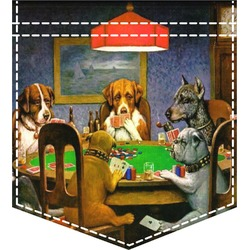 Dogs Playing Poker by C.M.Coolidge Iron On Faux Pocket