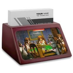 Dogs Playing Poker by C.M.Coolidge Red Mahogany Business Card Holder