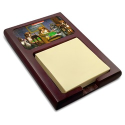 Dogs Playing Poker by C.M.Coolidge Red Mahogany Sticky Note Holder