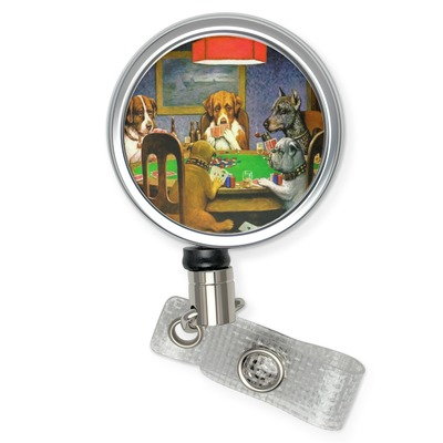 Dogs Playing Poker by C.M.Coolidge Retractable Badge Reel