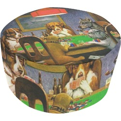 Dogs Playing Poker by C.M.Coolidge Round Pouf Ottoman
