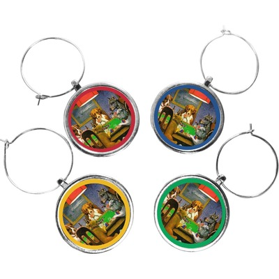 Dogs Playing Poker 1903 C.M.Coolidge Wine Charms (Set of 4)