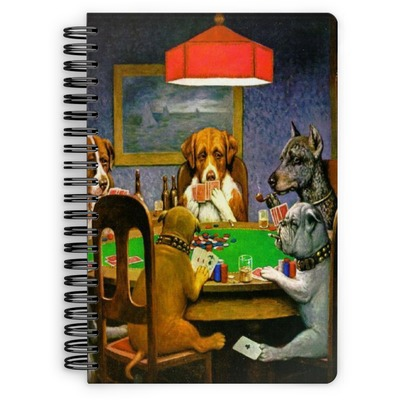 Dogs Playing Poker by C.M.Coolidge Spiral Notebook