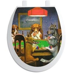 Dogs Playing Poker by C.M.Coolidge Toilet Seat Decal