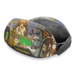 Dogs Playing Poker by C.M.Coolidge Travel Neck Pillow