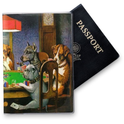 Dogs Playing Poker by C.M.Coolidge Vinyl Passport Holder