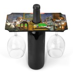 Dogs Playing Poker by C.M.Coolidge Wine Bottle & Glass Holder