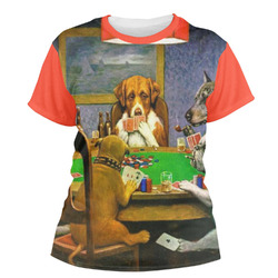 Dogs Playing Poker by C.M.Coolidge Women's Crew T-Shirt