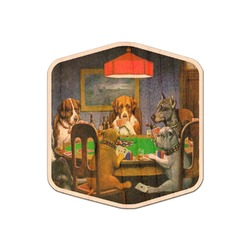 Dogs Playing Poker by C.M.Coolidge Genuine Maple or Cherry Wood Sticker