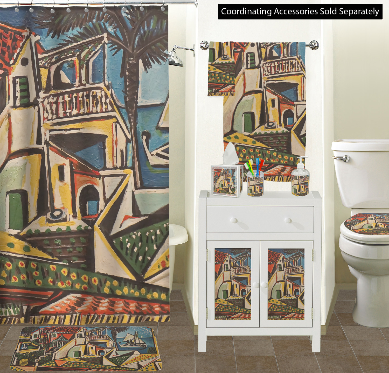 ... Shower Curtain Sizes Mediterranean Landscape By Pablo Picasso Bathroom  Scene ...