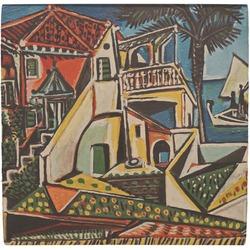 Mediterranean Landscape by Pablo Picasso Ceramic Tile Hot Pad