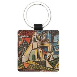 Mediterranean Landscape by Pablo Picasso Genuine Leather Rectangular Keychain
