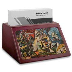 Mediterranean Landscape by Pablo Picasso Red Mahogany Business Card Holder