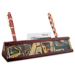 Mediterranean Landscape by Pablo Picasso Red Mahogany Nameplate with Business Card Holder