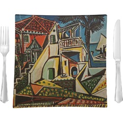 "Mediterranean Landscape by Pablo Picasso 9.5"" Glass Square Lunch / Dinner Plate- Single or Set of 4"