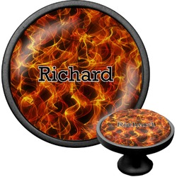 Fire Cabinet Knob (Black) (Personalized)