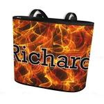 Fire Bucket Tote w/ Genuine Leather Trim (Personalized)