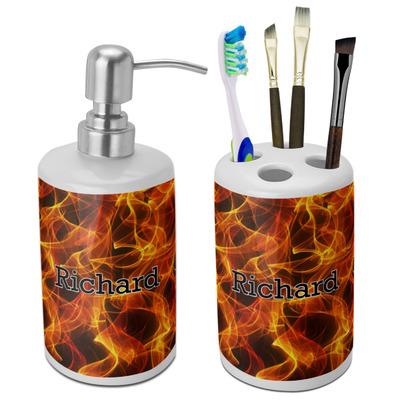 Fire Ceramic Bathroom Accessories Set (Personalized)