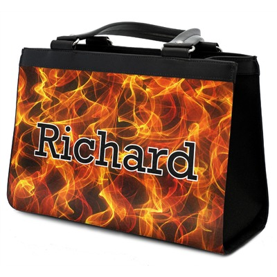Fire Classic Tote Purse w/ Leather Trim w/ Name or Text