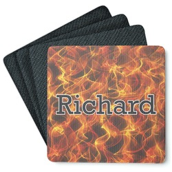 Fire 4 Square Coasters - Rubber Backed (Personalized)